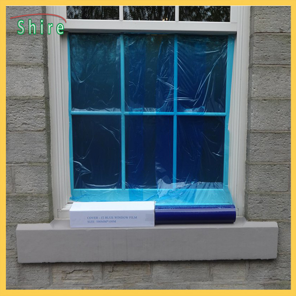 Plastic Packaging PE Protective Cling Low Tack Blue Window Glass Protection Film